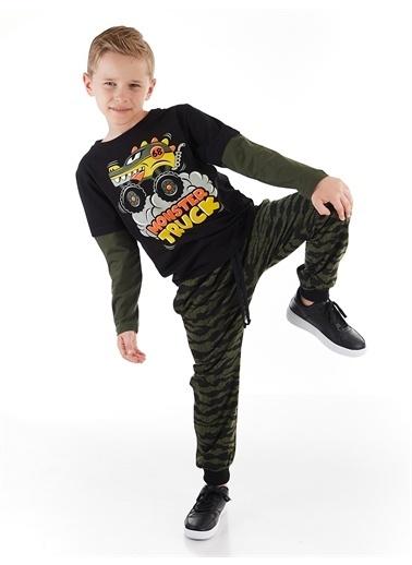Denokids Truck Kamuflaj Erkek Çocuk Pantolon Takım Renkli